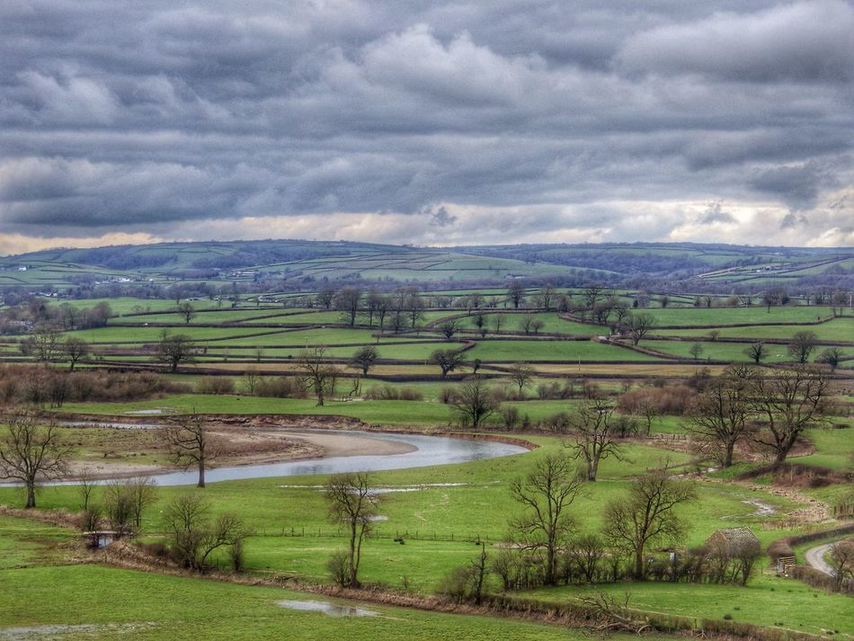 Wales Green Landscape Bucolic Farm Patchwork Fields