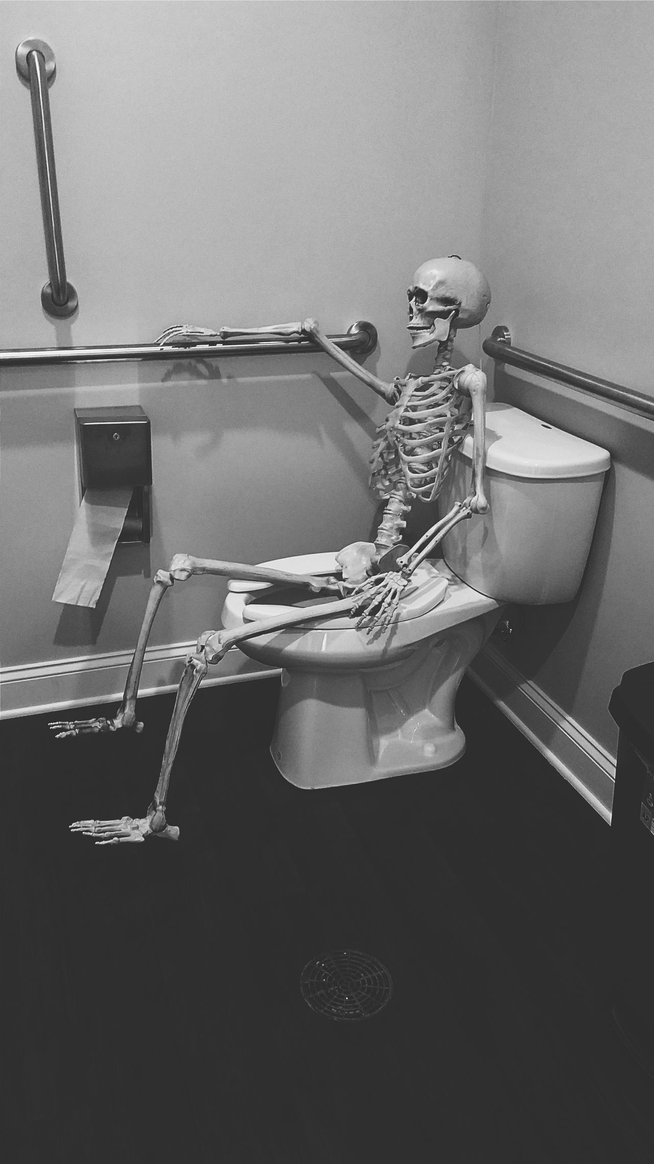 Skeleton Boredtodeath Scary Creepy Bathroom Art Volltography Skull This Is Halloween Check This Out Cool Hanging Out Buy Me Indefinite