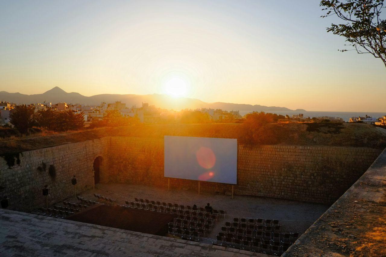 Rebirth Skantzman Rebirth Crete Heraklion Sunset Silhouettes Clear Sky Sunbeam Lens Flare Outdoors Mountain