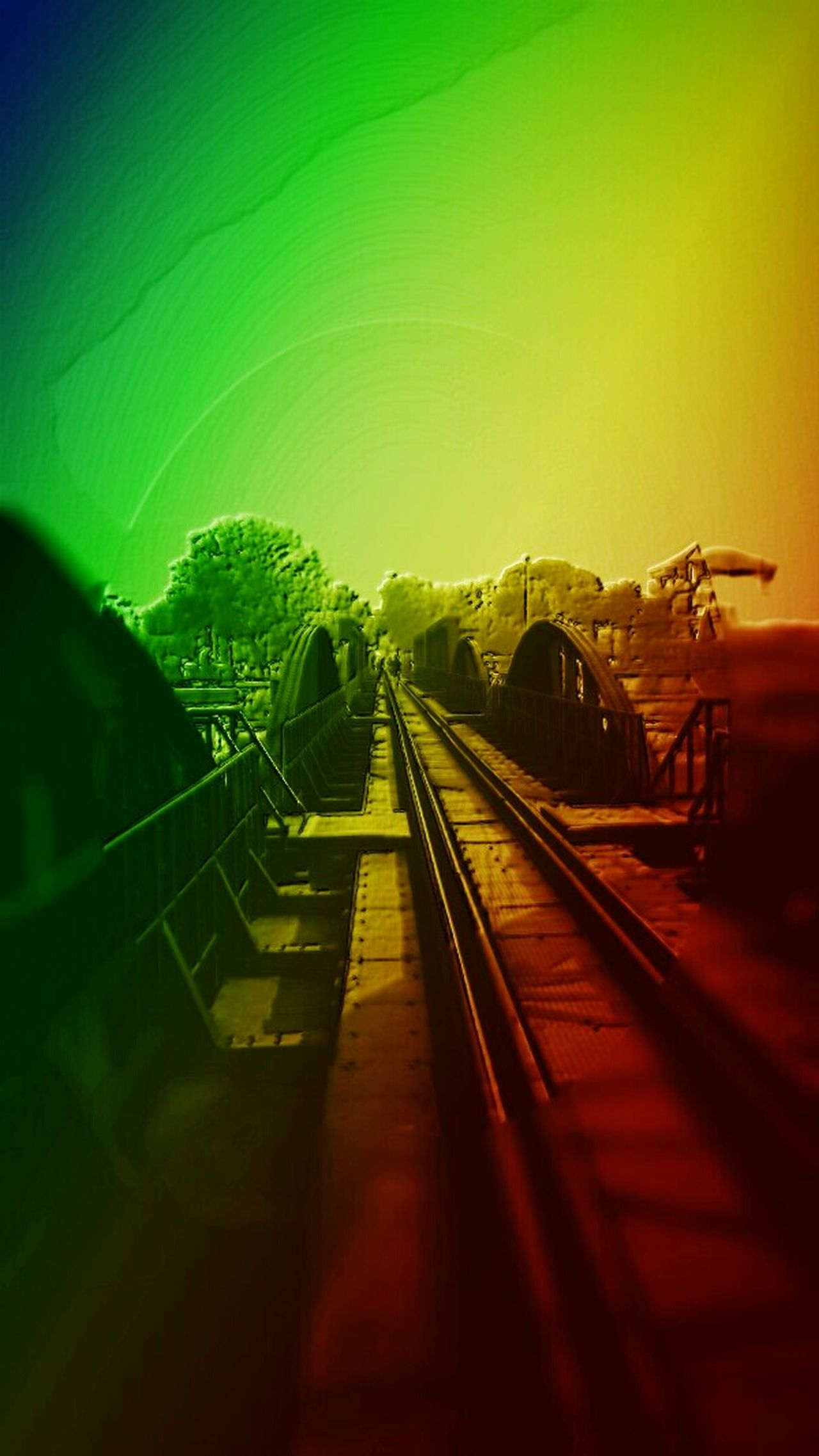 Rainbows, Engraving, Bridge, Architecture, Railway Tracks, Getting In Spired. .