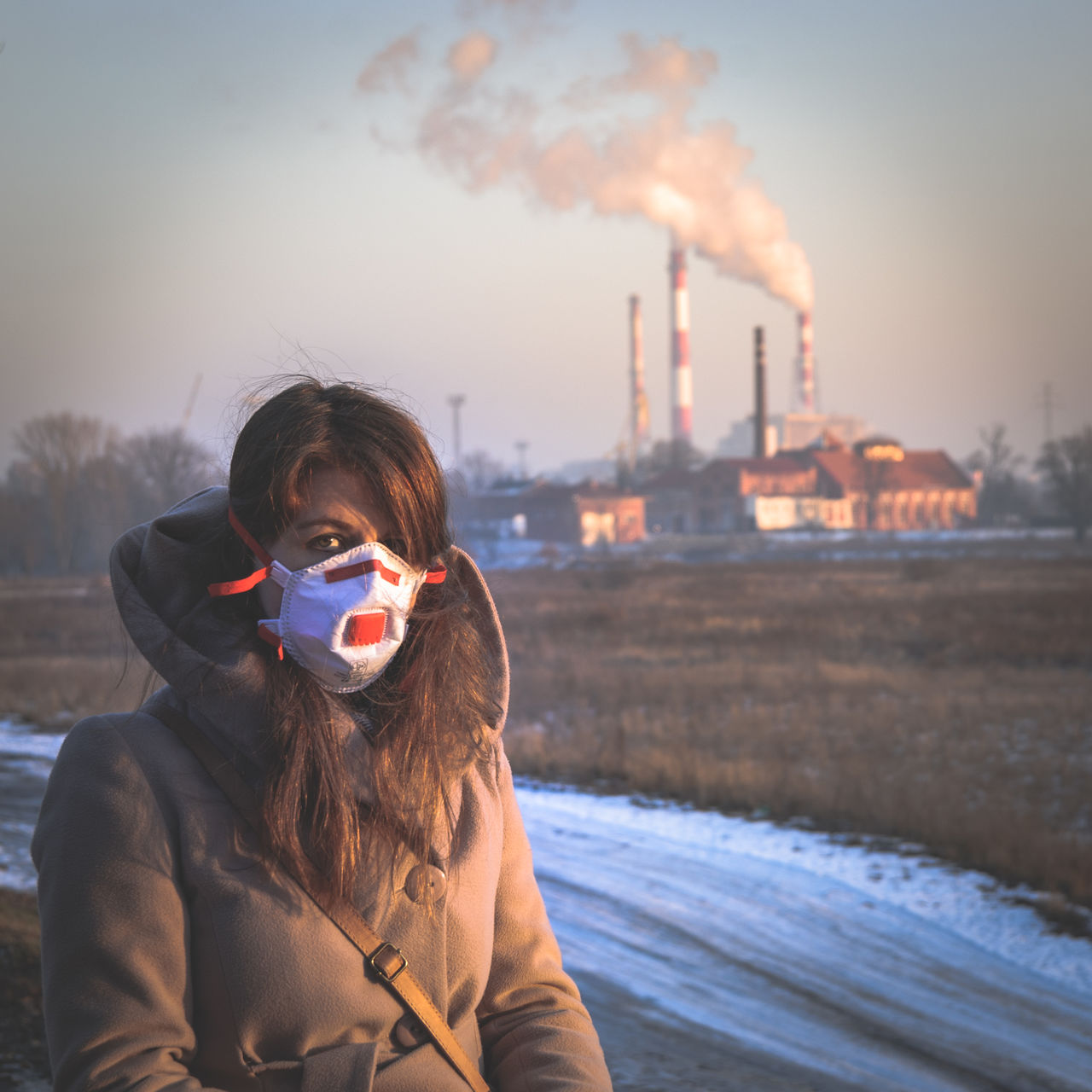 Breathing Mask City Factory Health Health Risk People Pollution Pollution Mask Power Plant Smog Smoke Winter Women Young Adult Statement Political Problem