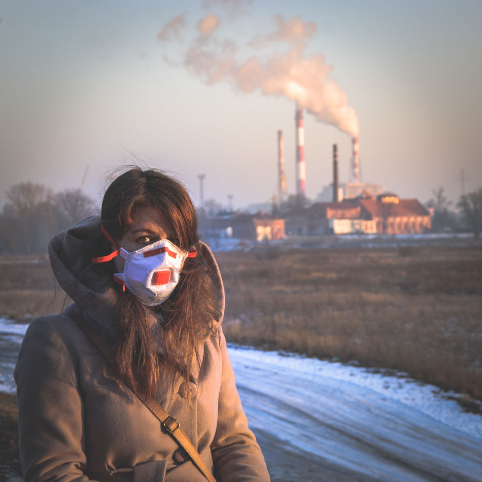 Breathing Mask City Factory Health Health Risk People Pollution Pollution Mask Power Plant Smog Smoke Winter Women Young Adult Statement Political Problem Resist