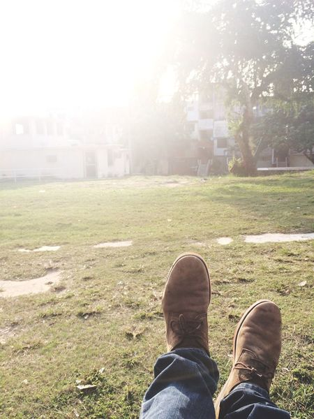 Shoe Human Leg Grass Personal Perspective One Person Day Real People Low Section Nature Tree Outdoors People Me Lifestyles Men Playground Diversion Sun Love Sunset Sunset