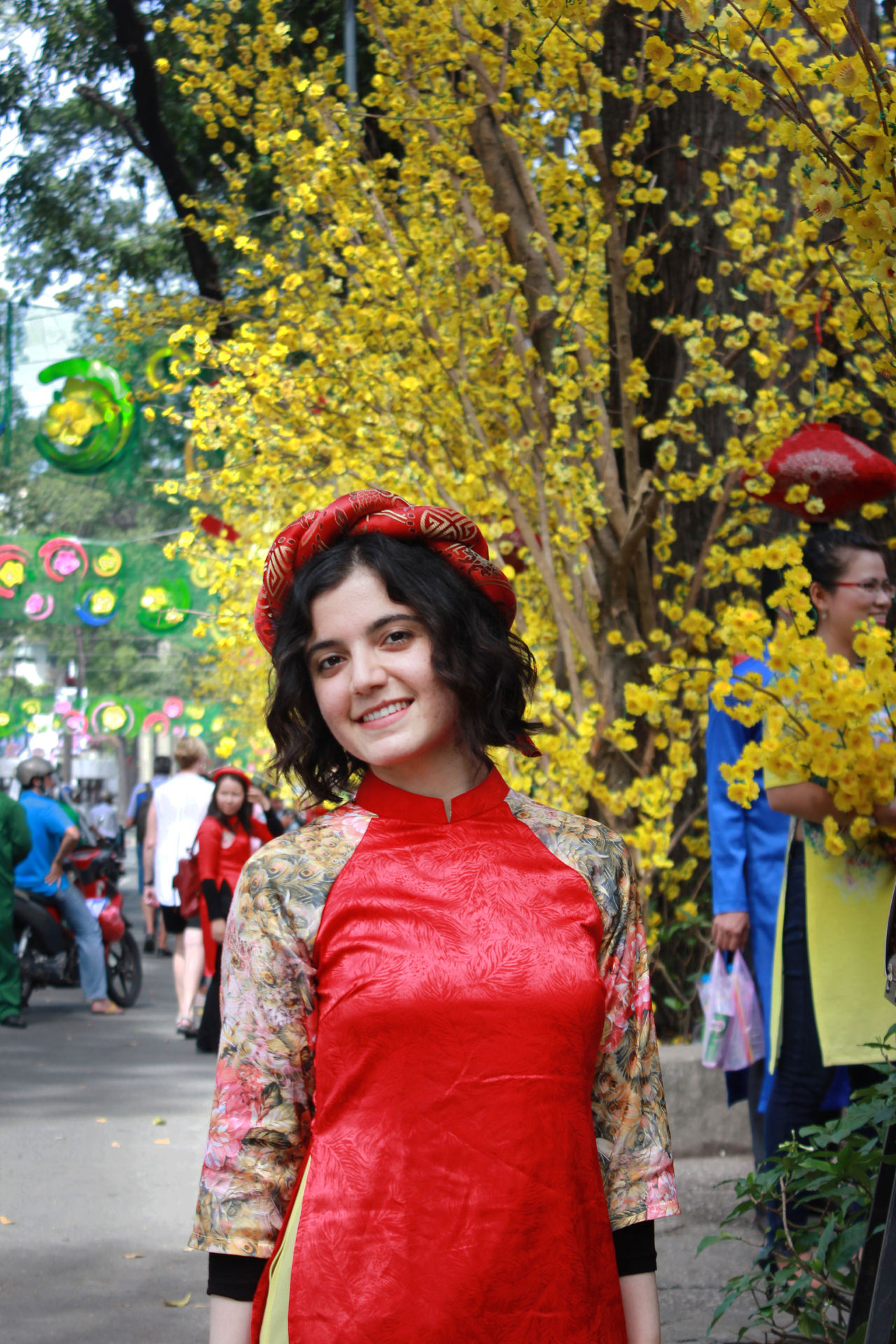 Celebration Cheerful Cultures Decoration Flower Happiness Looking At Camera Outdoors People People Watching Portrait Smiling Standing Tet 2017 Tet Holiday Tet In Saigon Tetholiday Toothy Smile Traditional Clothing Tree Tết Vietnam Vietnamese Vietnamesegirl Young Adult