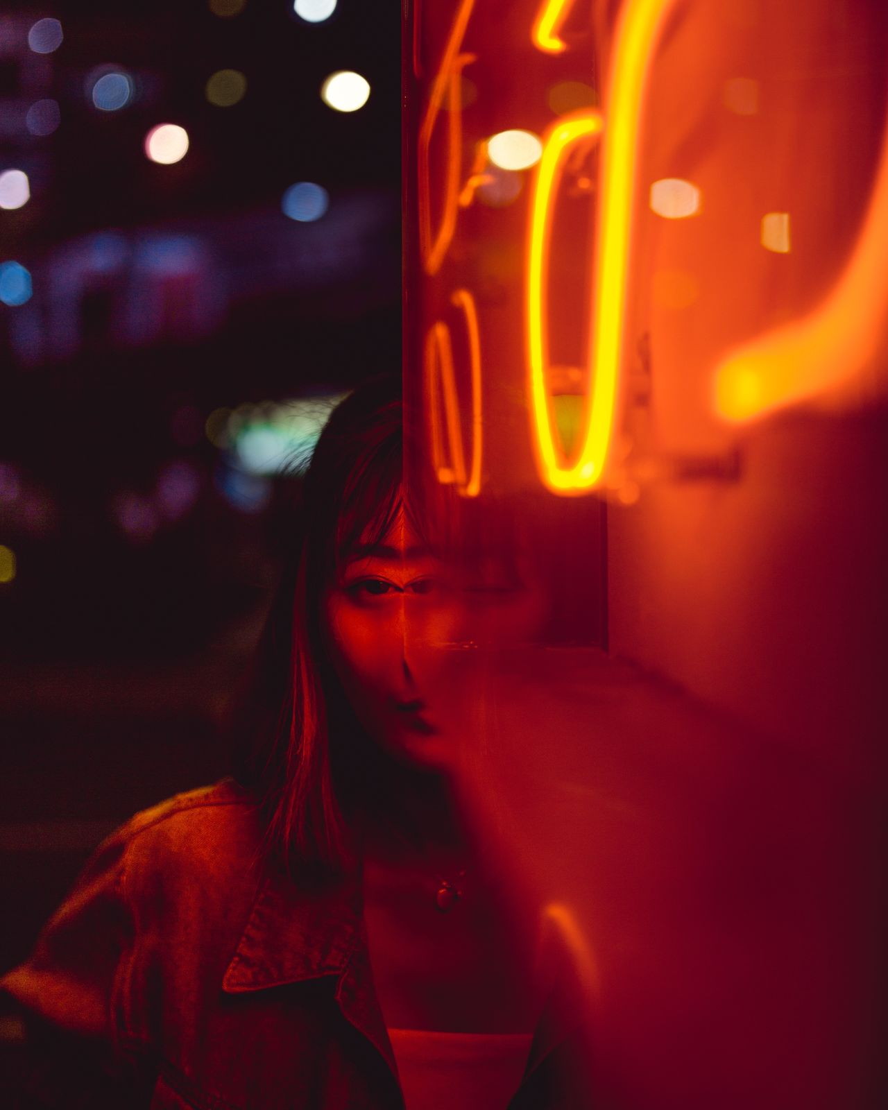 cyclops Red Illuminated Neon Close-up City Street Portrait Photography Portrait Of A Woman Portrait Of A Girl Portraits Of EyeEm Light Light And Shadow Red Weird Distorted Faces Optical Illusions