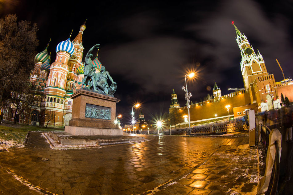 more sightseeing with me Architecture Capital Cities  Famous Place Fish-eye Lens Long Exposure Moscow Night Night Lights Spasskaya Tower St. Basil's Cathedral Travel Destinations