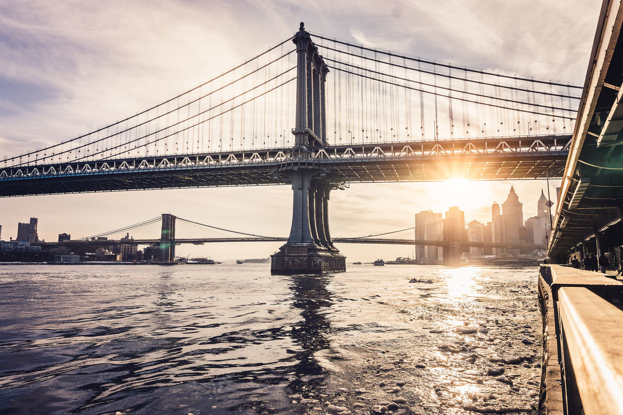 Beautiful stock photos of new york, Architecture, Back Lit, Bridge - Man Made Structure, Brooklyn Bridge