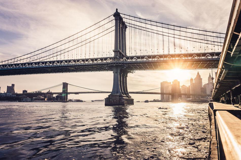 Beautiful stock photos of new york, Architecture, Back Lit, Bridge - Man Made Structure, Brooklyn Bridge