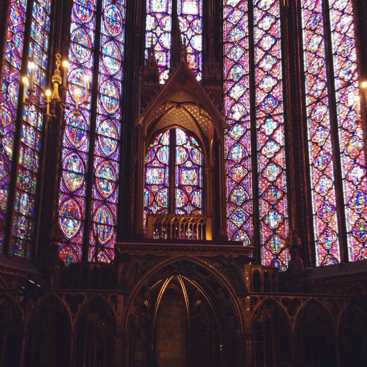 Place Of Worship Stained Glass Window Multi Colored Architecture