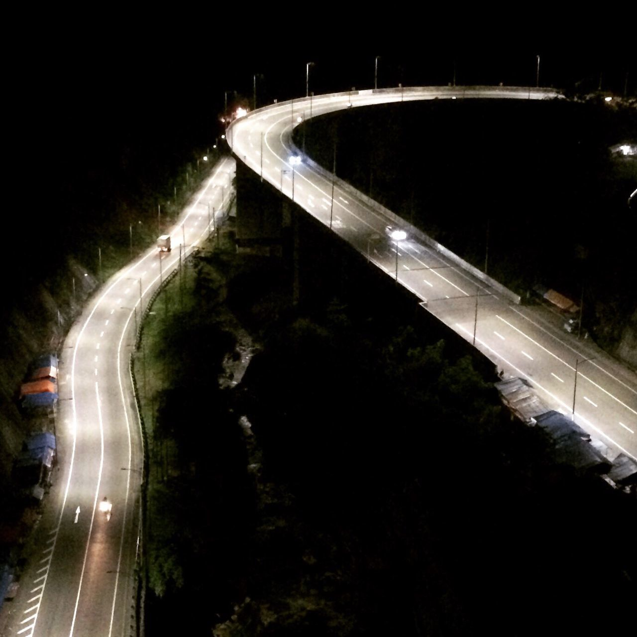 night, illuminated, speed, light trail, road, transportation, motion, curve, long exposure, outdoors, no people, nature, tree