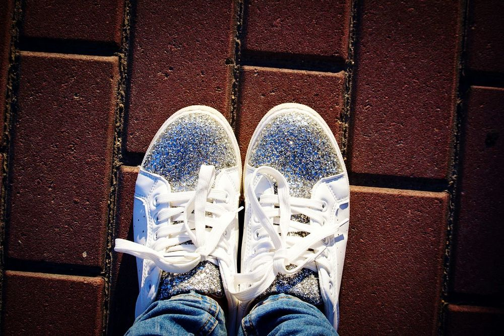 Shoe Standing One Person Pair Lifestyles Day Sneakers Of EyeEm Sneakers StarShine White Color Shine Shine Bright Like A Diamond  One Man Only