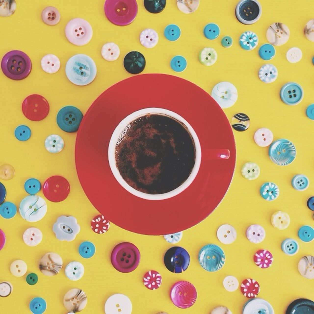 multi colored, high angle view, indoors, circle, still life, food and drink, large group of objects, directly above, variation, abundance, colorful, bowl, drink, one person, table, choice, childhood, cup, close-up, refreshment