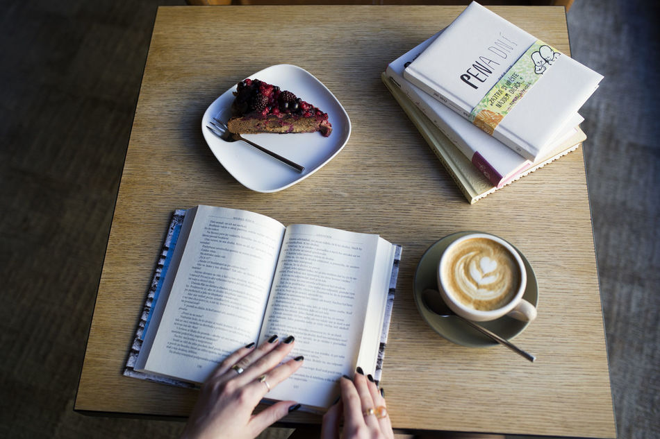 Book Cake Chill Coffee - Drink Coffee Cup Food And Drink High Angle View Human Hand Indoors  Relax Table
