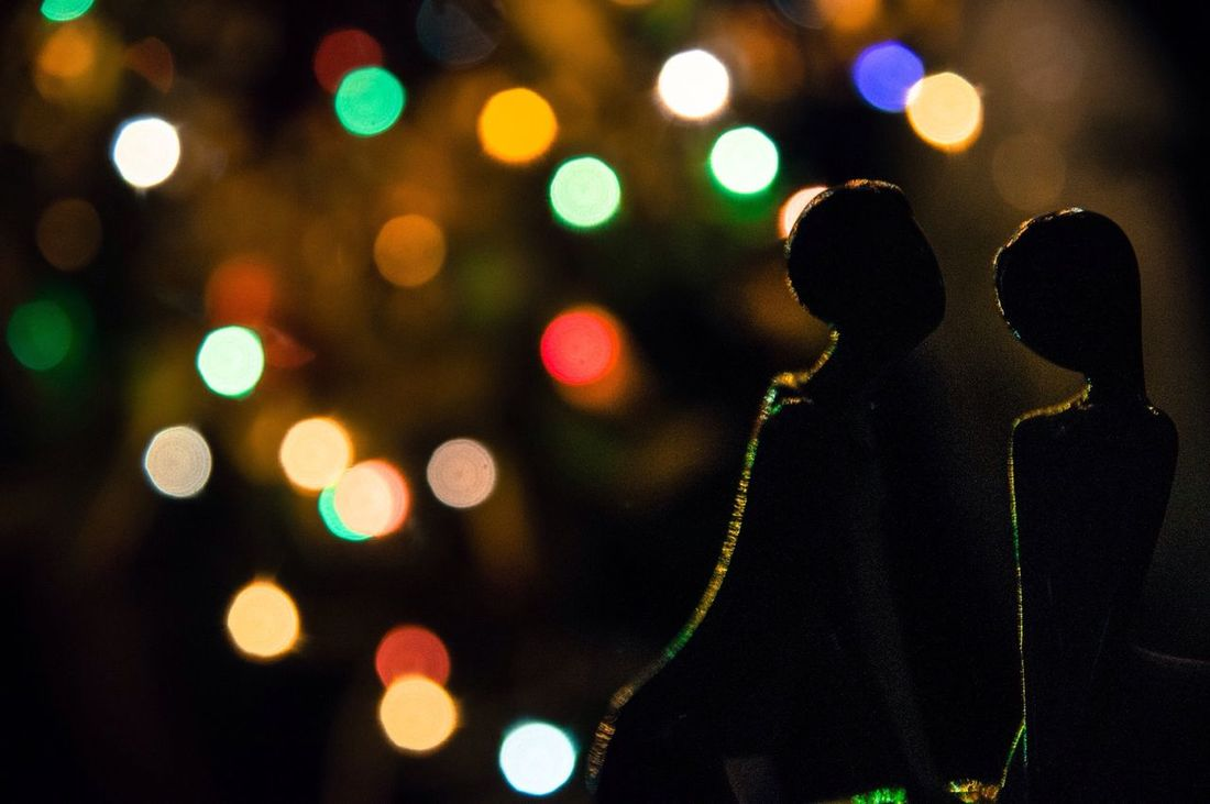 Night MerryChristmas Colors Light And Shadow Kiss