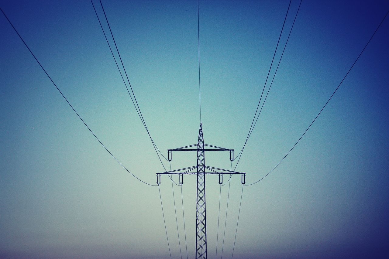cable, power line, connection, electricity, low angle view, electricity pylon, power supply, fuel and power generation, electricity tower, technology, no people, clear sky, blue, day, outdoors, sky, complexity, nature
