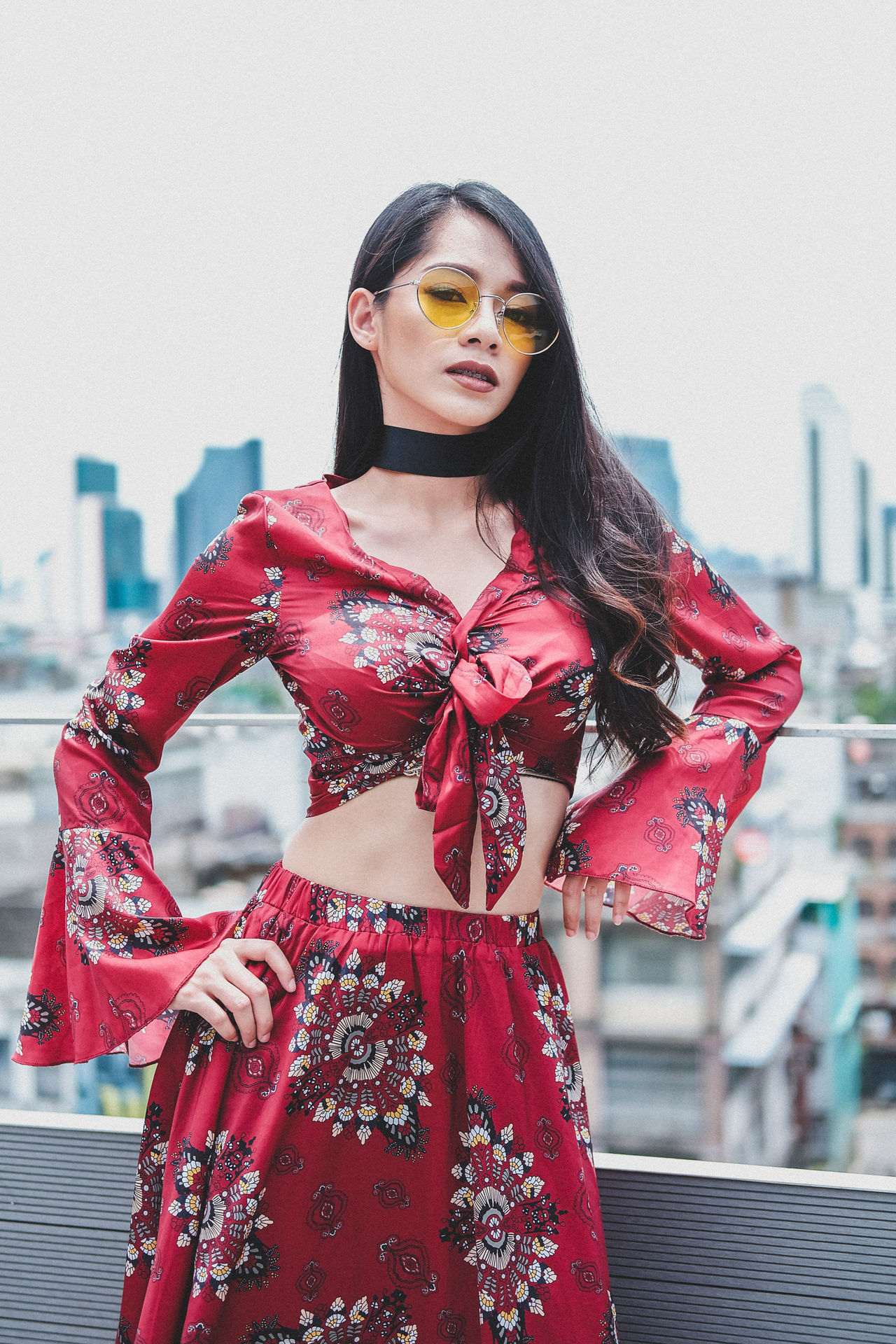 one woman only Red one person cold temperature Fashion only women Adult City Winter Standing front view Adults Only people luxury beautiful woman outdoors portrait beauty glamour young adult