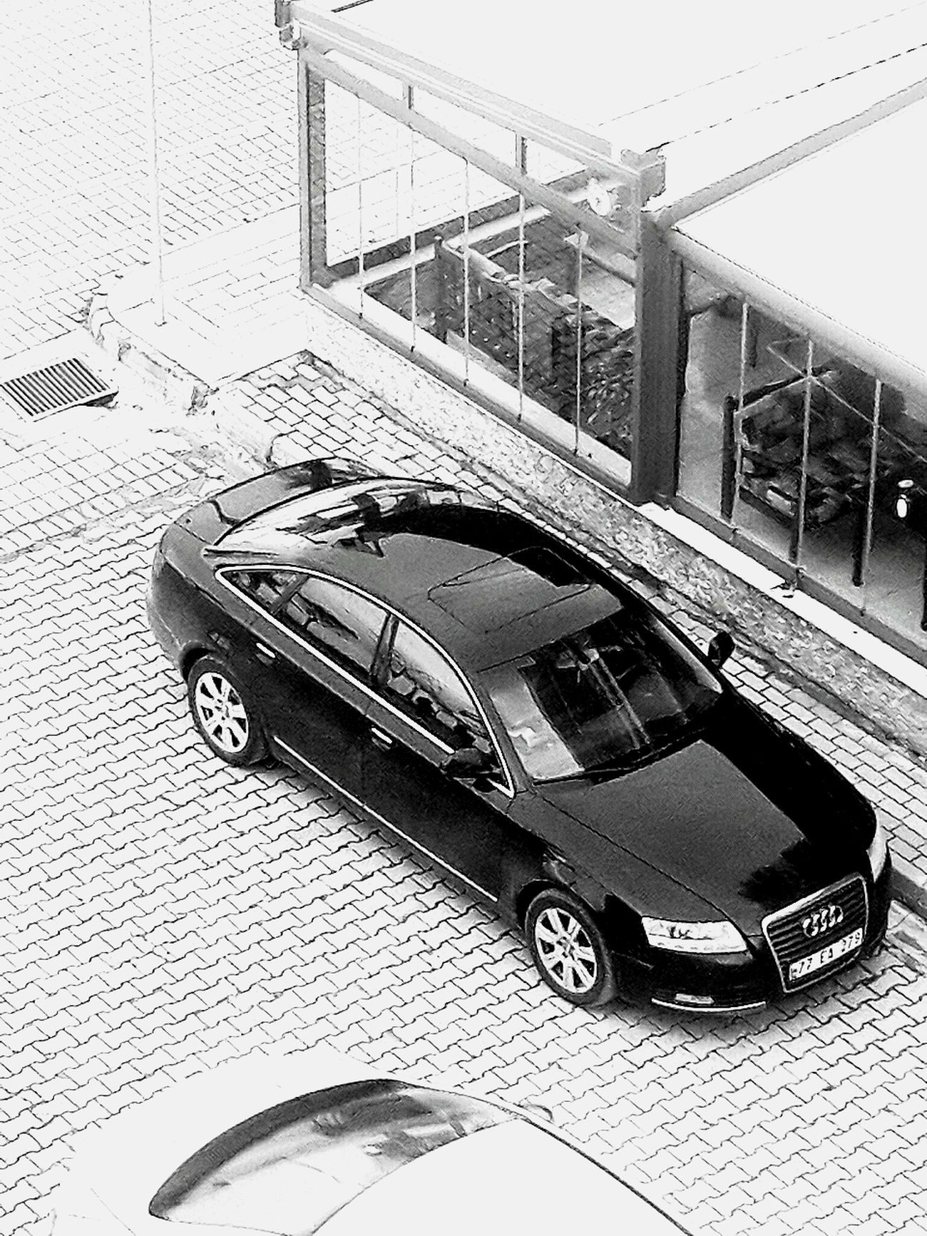 Transportation Mode Of Transport High Angle View Car Outdoors Day Architecture Bridge - Man Made Structure No People BlackCar Blackandwhite Streetphotography Street Photography Black And White Bw_collection Streetphoto_bw Eye4blackandwhite Eye4photography Light And Shadows Audi A6 Audi Love Elbetbirgun