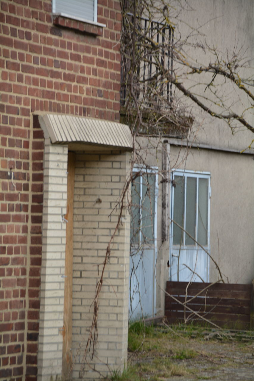 built structure, architecture, building exterior, house, window, door, weathered, abandoned, no people, day, outdoors, doorway, bare tree