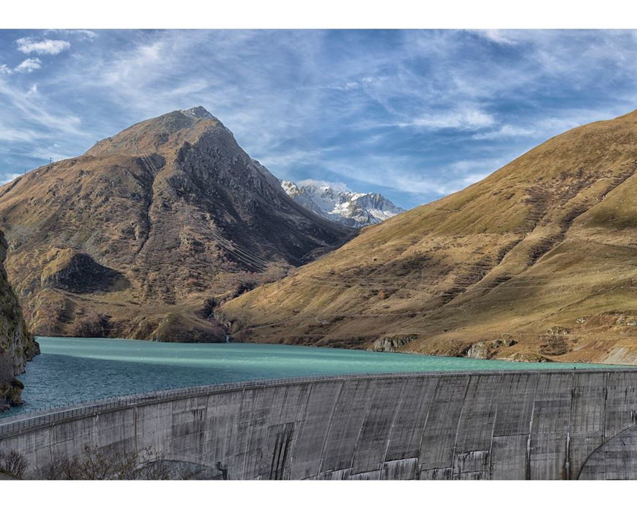 mountain, mountain range, nature, lake, scenics, dam, water, beauty in nature, no people, day, hydroelectric power, landscape, outdoors, sky