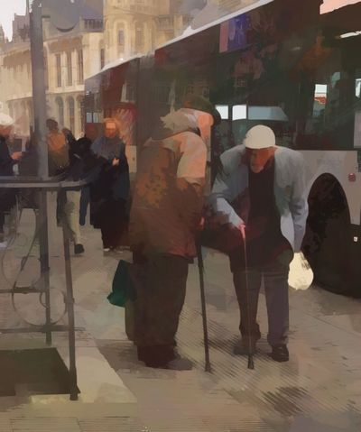 Two gentlemen meeting at the bus in Ghent Belgium—an artistic expression Men Walking Real People City Lifestyles Full Length Architecture Outdoors People