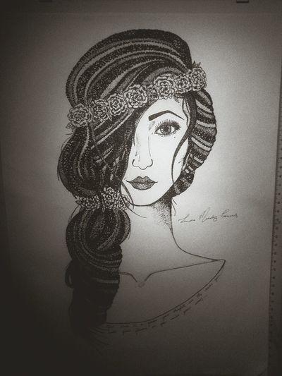 My latest drawing Beautiful Girl Flower Drawing Pretty♡