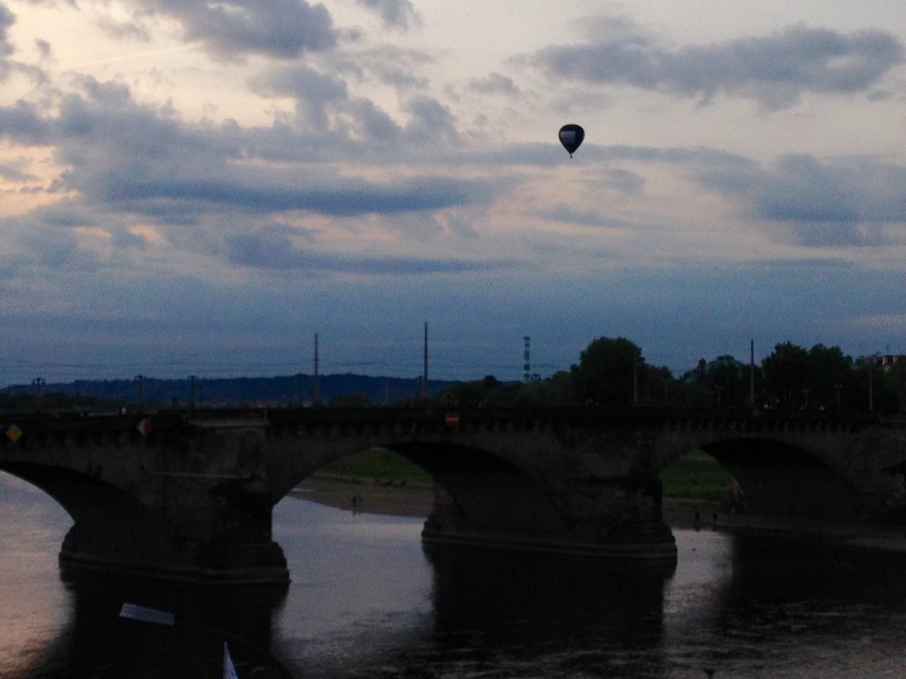 River Bridge Sky Cloud - Sky City Life Arch Bridge Summer Sundown Sunset Hot-air Balloon Dresden Elbe River Evening Sky Twilight Sky Mobilephotography My Year My View