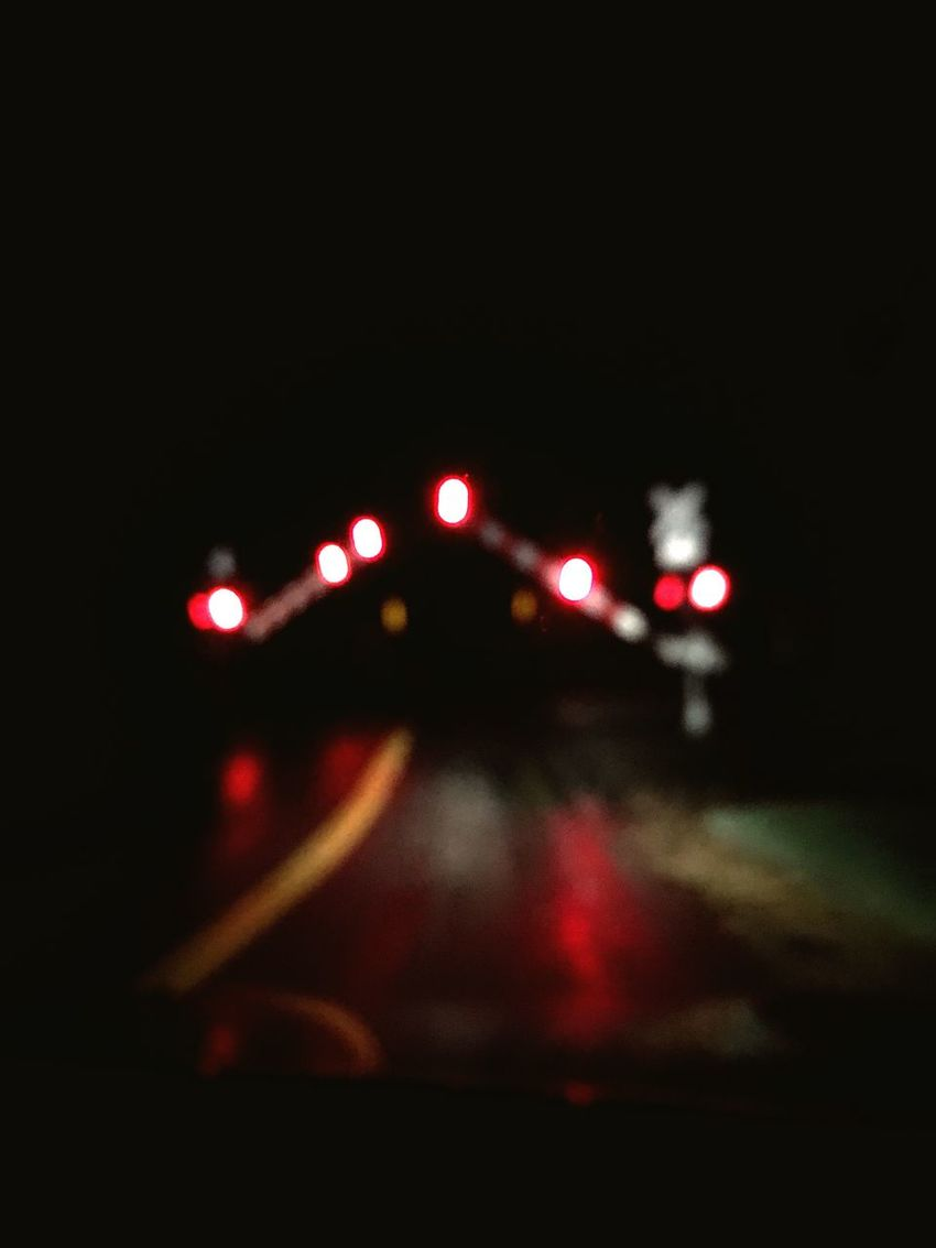 Railroad Crossing Lights Nightlights Nightphotography Ipstransport Train Train Tracks Outoffocus Night Lightshow Dark Crossing Lights Stop Warning Look Donotcross Whistle