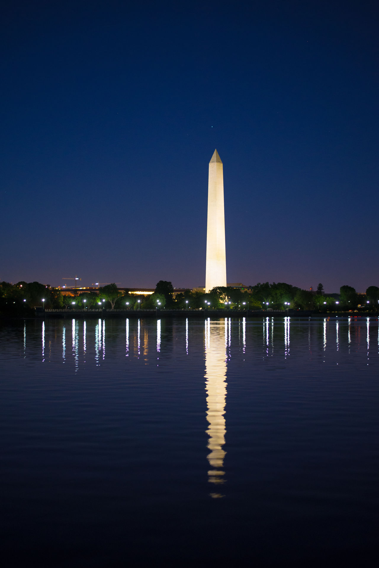 Architecture Clear Sky Illuminated Night Outdoors Reflection Travel Destinations Washington Monument From MLK Jr. Memorial  Washington Monument, Washington DC Washington, D. C. Water