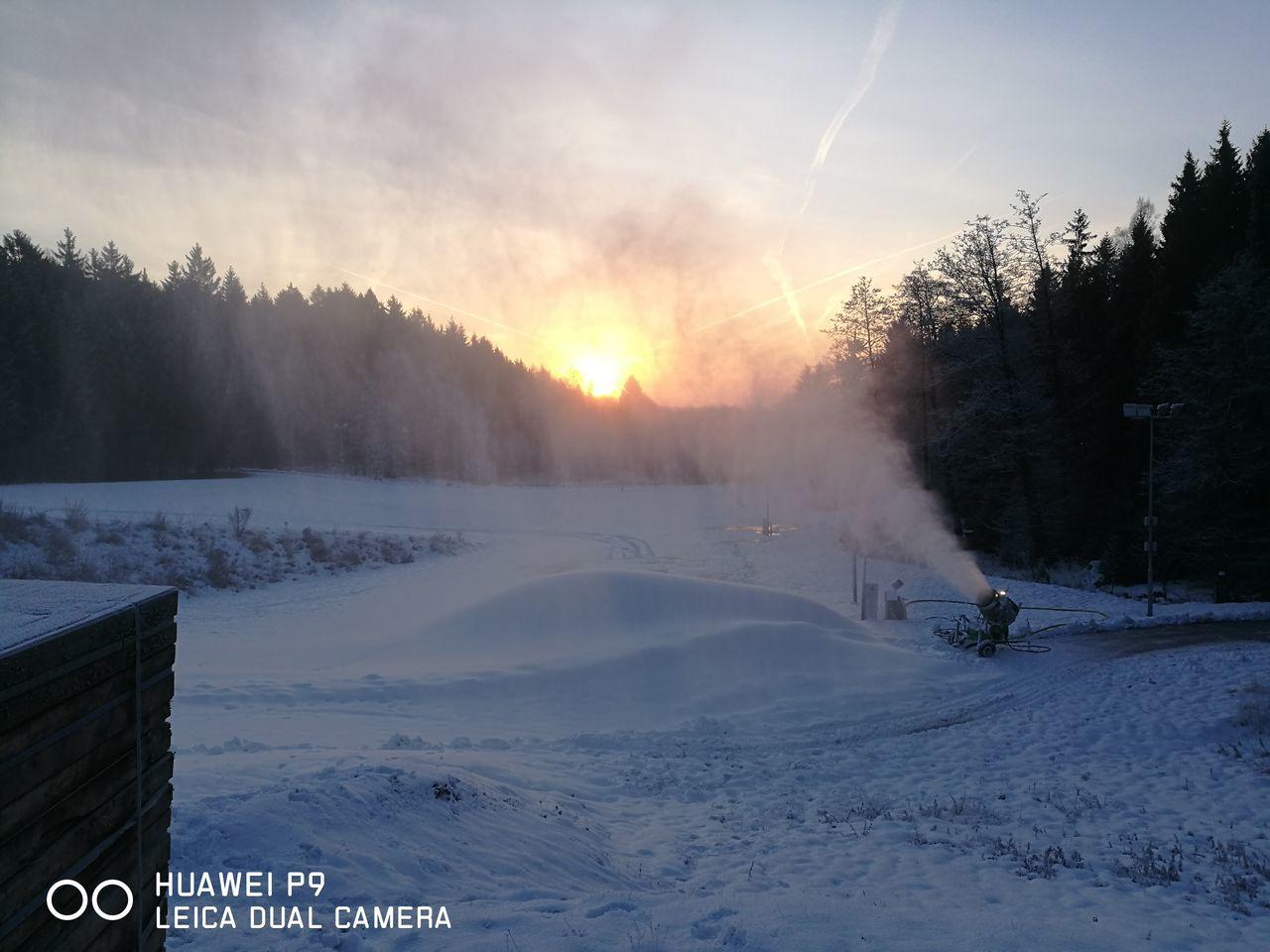 Snow Sunset Cold Temperature Winter