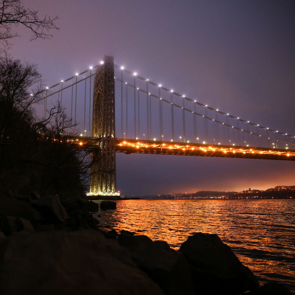 Architecture Bridge Bridge - Man Made Structure Building Exterior Built Structure Chain Bridge City Clear Sky Connection George Washington Bridge Illuminated Nature Night No People Outdoors River Sky Sunset Suspension Bridge Transportation Travel Travel Destinations Tree Water