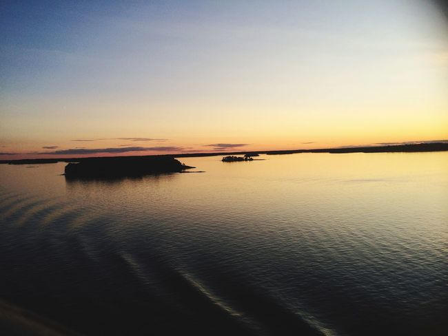 Traveling on Ship Taking Photos Swedish Island Sunset from Stockholm to Helsinki Finland Sverige
