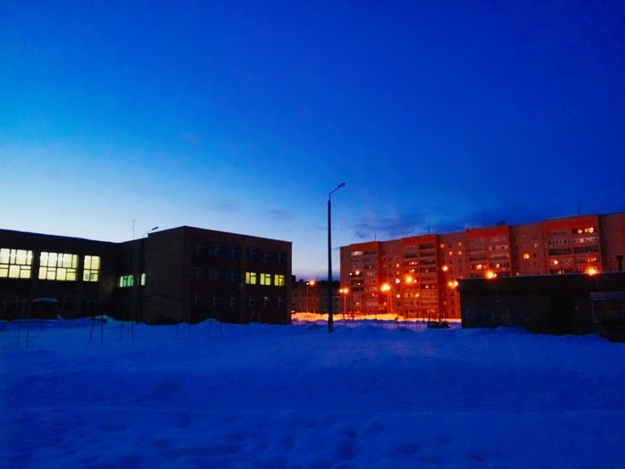 Architecture Blue Building Exterior Built Structure City Clear Sky Cold Temperature Illuminated Nature Night No People Outdoors Sky Snow Winter