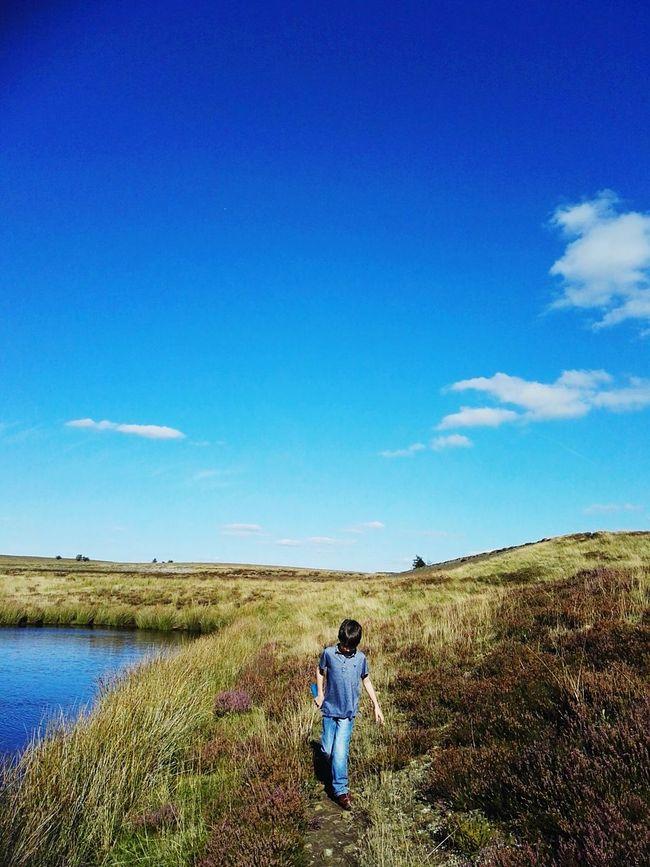 Grass Sky Tranquility Blue Scenics Water Beauty In Nature Summerdays  Blueskiesandsunshine Blueskies Countryside Derbyshire Non-urban Scene Exploring Oscarsadventures Getting Away From It All Childhood Boys Enjoying Life Lazysunday Heather Heatherinbloom