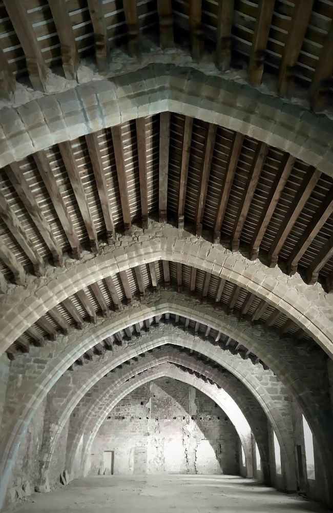 Abbey Abbaye Lagrasse Lines And Shapes Framework Woodwork  Charpentes MedievalTown Medieval Cathar Country Payscathare Medieval Architecture Perspective Monastery Monastère
