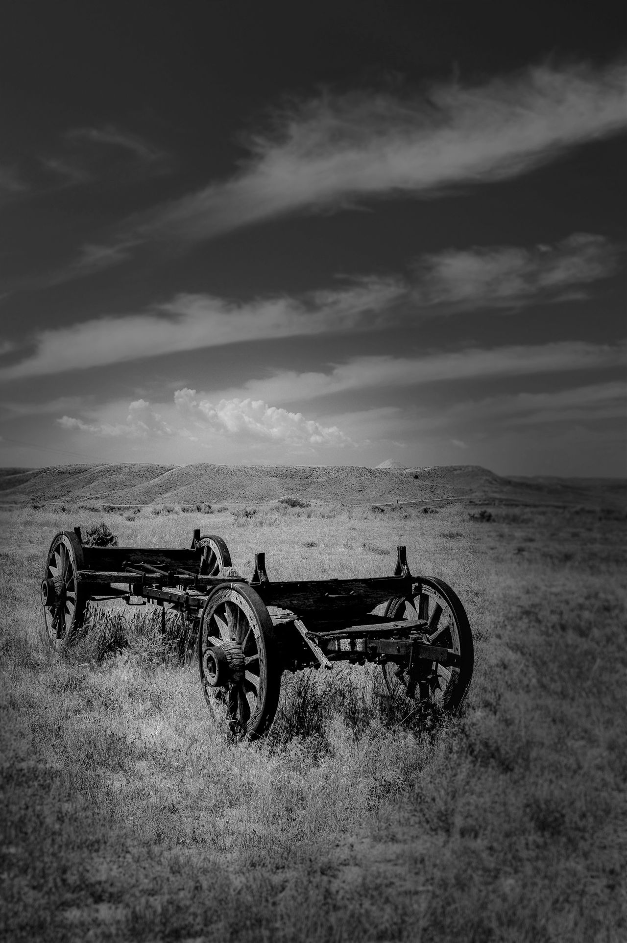 Wagon from the past Fort Fetterman Black And White Black And White Photography Day Field From Old Military Base Landscape No People North Of Douglas Wyomning Outdoors