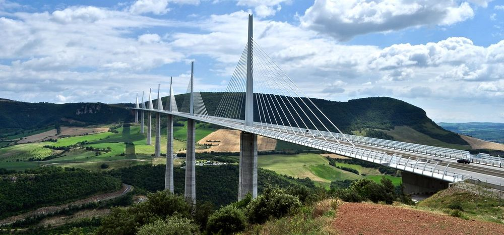 Architecture Bridge Bridge - Man Made Structure Bridges Cloud Connection Day Engineering International Landmark Landscape Long Millau Millau Viaduct Millau, France Mountain Mountain Range Nature Panorama Perfect Perfect Day Perfection Sky Suspension Bridge The Way Forward Travel Destinations Neighborhood Map The Architect - 2017 EyeEm Awards