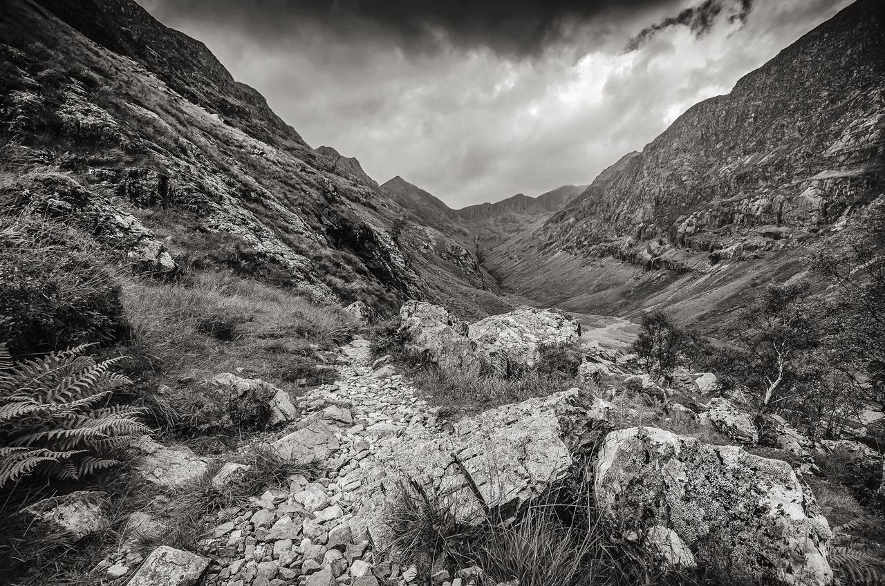 The Hidden Valley Scotland Glencoe The Great Outdoors With Adobe The Great Outdoors - 2016 EyeEm Awards Mountains Path Valley BW Landscape Monochrome Wild Landscape Rugged Beauty Beauty In Nature Moody Sky Mountains And Sky Mountain Path Great Britain Black And White Landscape_photography Countryside Scottish Mountains Glencoe Mountain Resort Natures Diversities