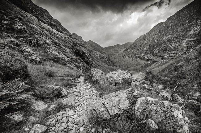 The Hidden Valley Scotland Glencoe The Great Outdoors With Adobe The Great Outdoors - 2016 EyeEm Awards Mountains Path Valley BW Landscape Monochrome Wild Landscape Rugged Beauty Beauty In Nature Moody Sky Mountains And Sky Mountain Path Great Britain Black And White Landscape_photography Countryside Scottish Mountains Glencoe Mountain Resort