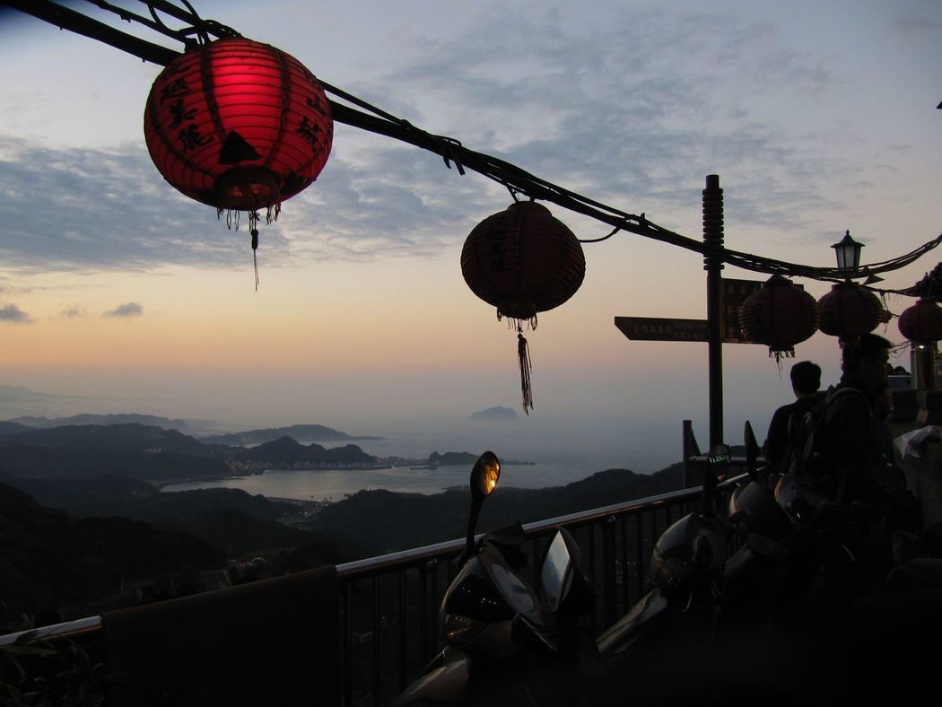 Asian Culture Dusk Enjoying The View EyeEm Taiwan Hanging Lanterns Lantern Motorbike Red Lanterns Sky And Clouds Sunset Travel View From Above Sea And Sky Sunset_collection Sunsets Red Mountains