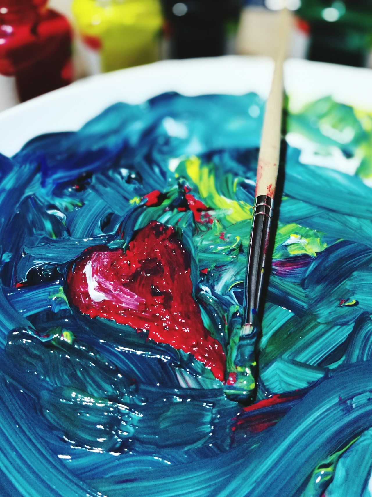 In spite of evry thing there is love Colores Colors Mix Love ♥ Always Love Paint Painting Paintbrush Art Art, Drawing, Creativity Art