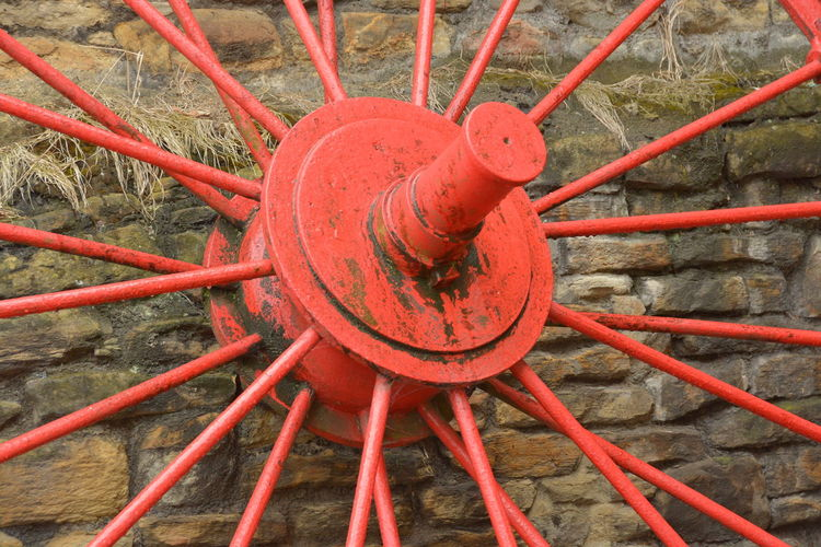 Close-up Day Metal Mining Heritage No People Outdoors Pipe - Tube Red Red Wheel South Wales Spare Pithead Wheel
