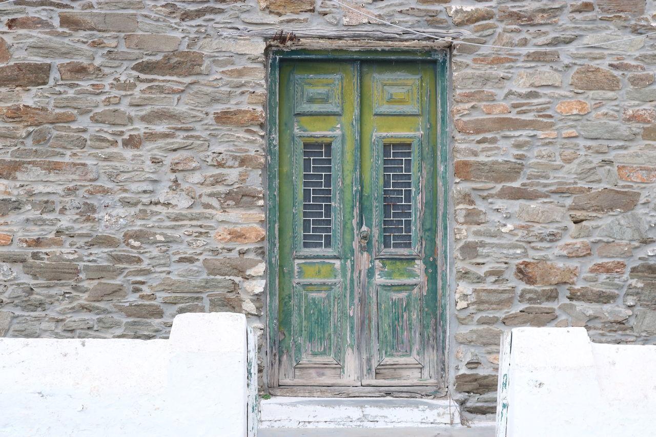 Architecture Brick Wall Building Exterior Built Structure Day Door Doors Green Door Green Doors House No People Outdoors Plant Residential Building
