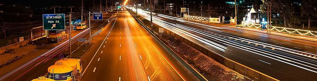 Panorama Cityscapes Overpass Road Label Traffic Signs Night Night Lights Nightphotography Lines Lamp Post Car Streetphotography Eye4photography  Thailand Thailand_allshots Everybodystreet Cable Wires City Working Walking Around Temple Fair Streetphoto_color Orange Color