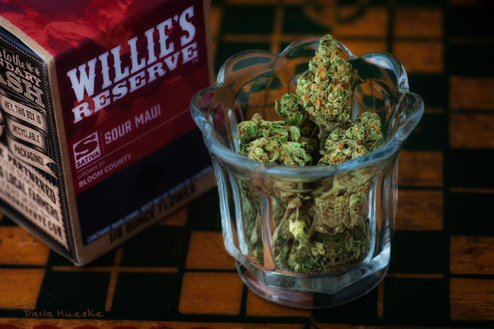 Willie's Reserve Sour Maui Cannabis, product photography Bud Cannibus Close-up Marijuana - Herbal Cannabis No People Product Photography Table Willienelson