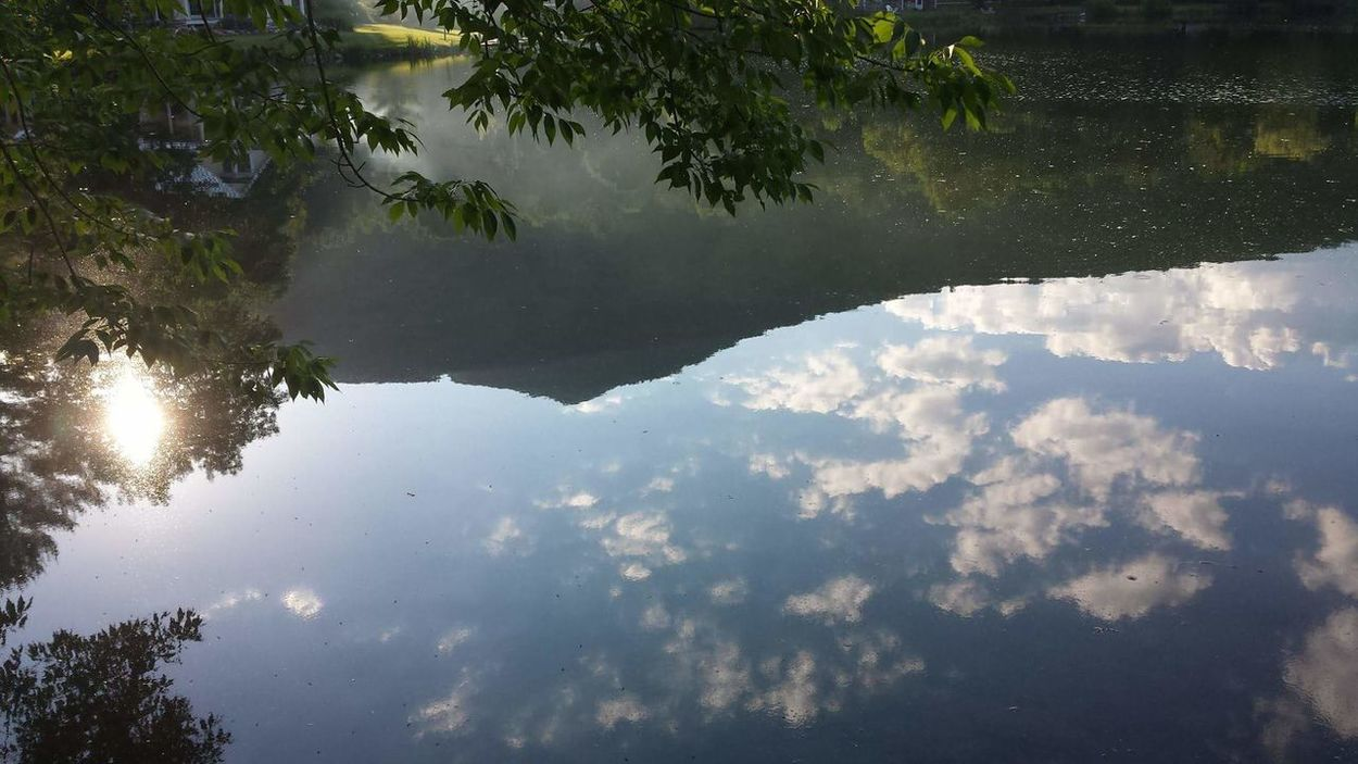 On The Pond Water Reflections Serenity Sunlight Green Mountain State Clouds