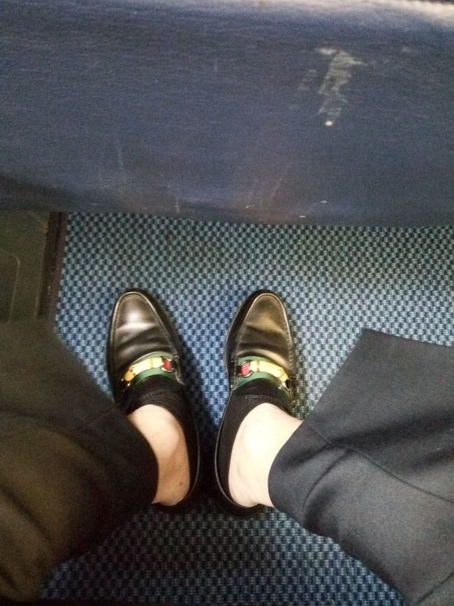 Day Feet Footpath Footwear GUCCI Low Section Multi Colored Person Personal Perspective Shoe Standing