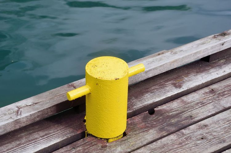 Post Close-up Deck Metal Mooring No People Outdoors Pier Railing Wood - Material Yellow