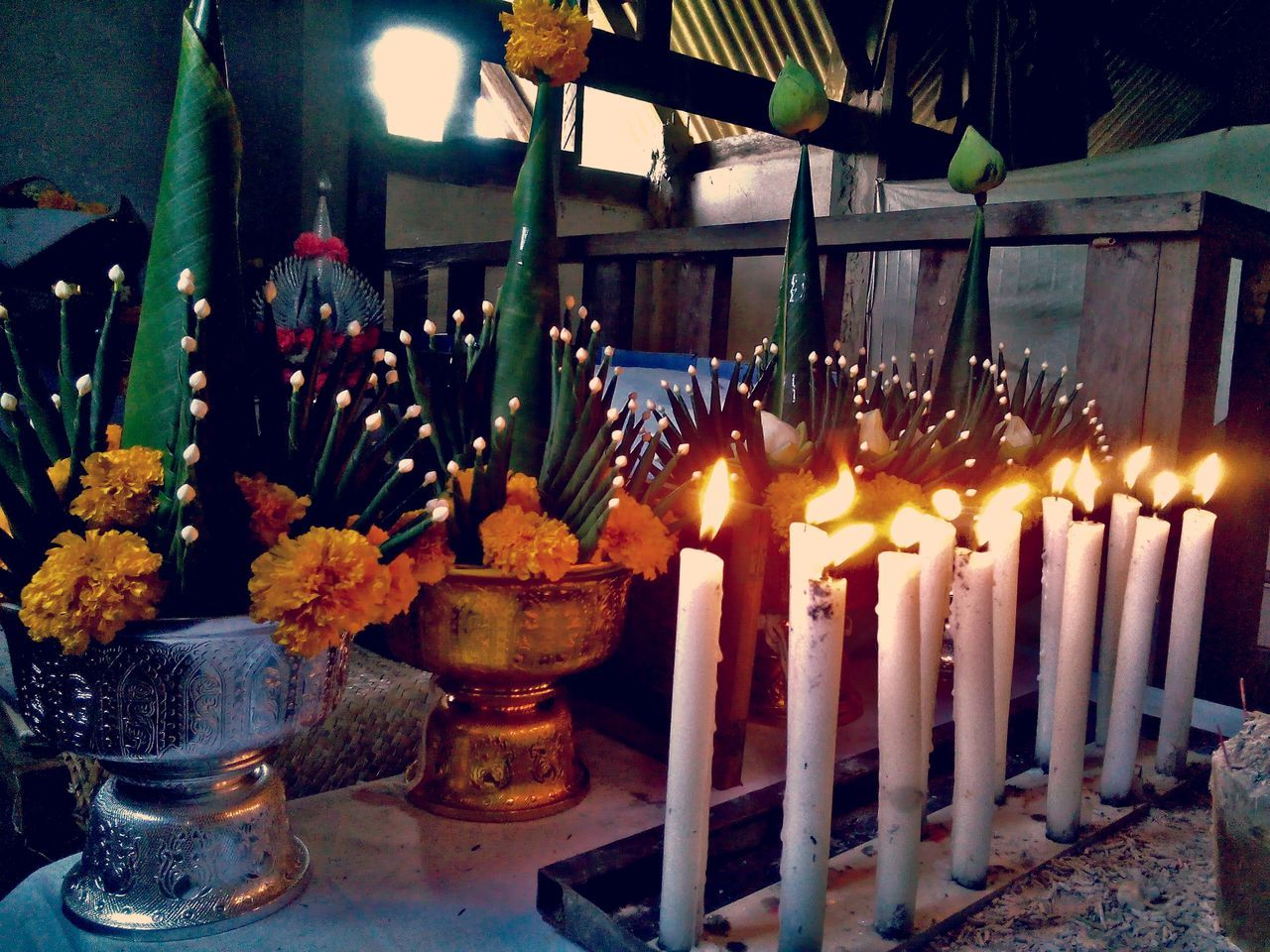 Indoors  Large Group Of Objects No People Table Candle Auspicious Candle Myth Offer Sacrifice Rice Offering See What I See By Me » Thailand