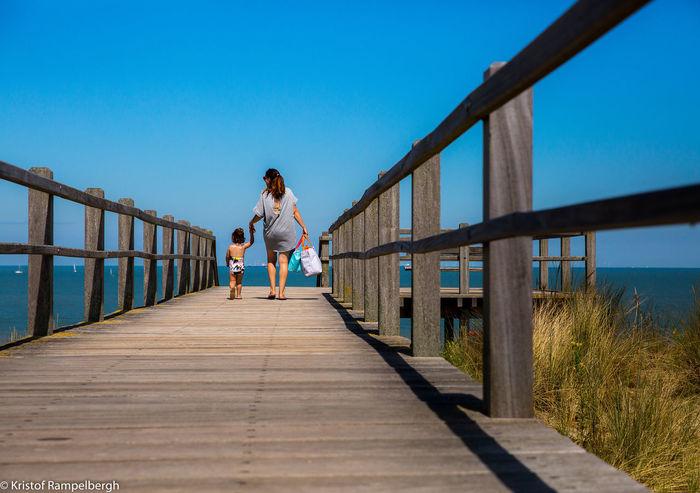 The bridge Beach Bridge Childhood Mother & Daughter Sea Summer Summertime Sunlight Wood - Material Sommergefühle