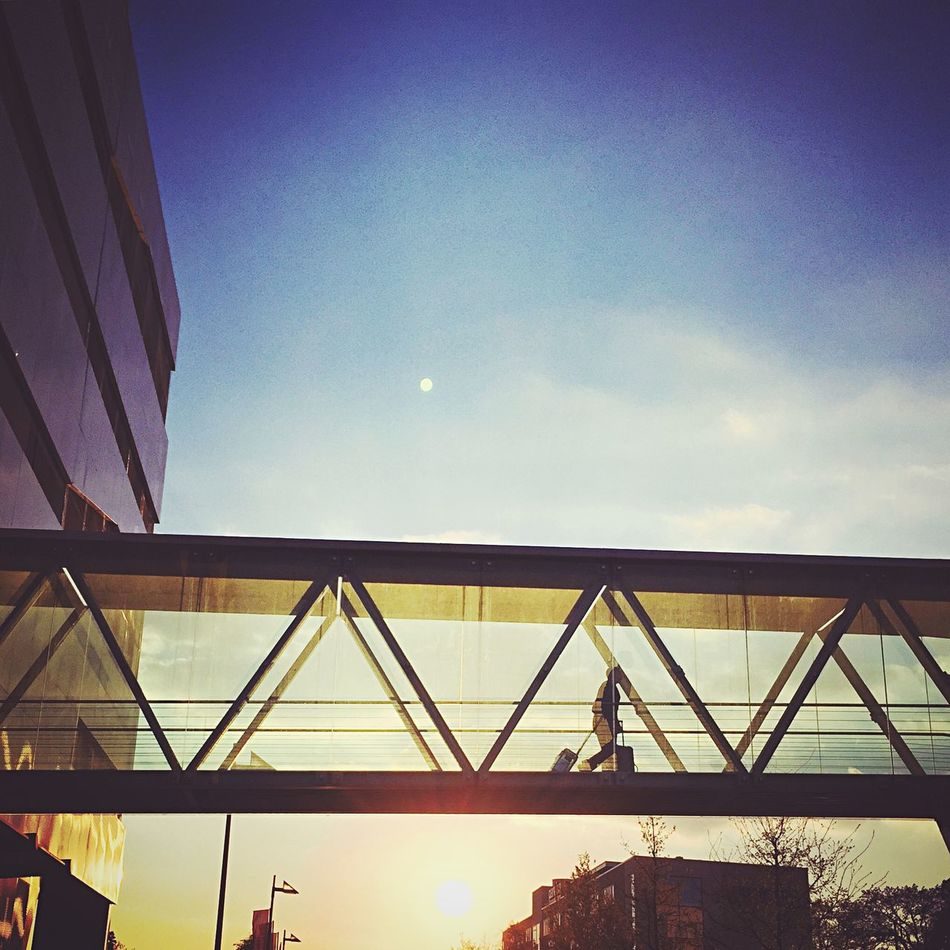 Open Edit Checking In Architecture Strideby Sunset Silhouettes Walkway
